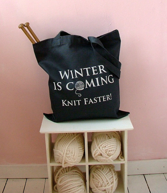 Winter is coming knit faster tote bag from Kelly Connor Designs - Shortrounds Knitwear