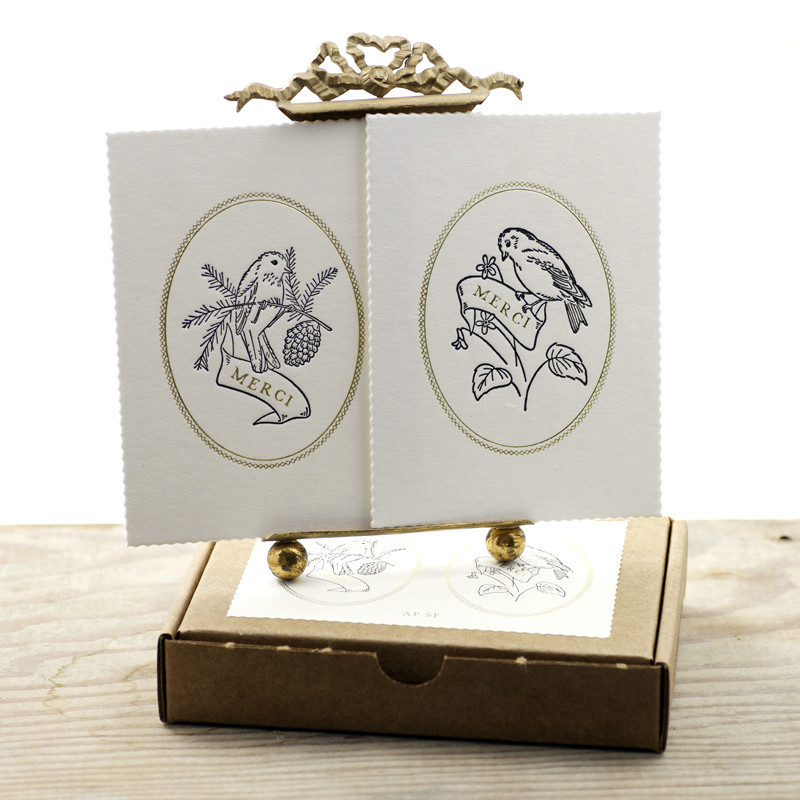 Merci bird letterpress card set Oates & Co. - Shortrounds Knitwear