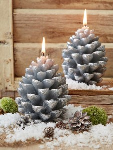 Christmas, gift, festive, seasonal, presents, pine cone, silver pine cone, candle, votive, winter, nordic house