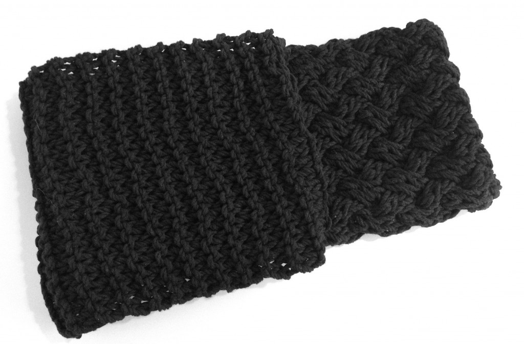 basketweave and garter stitch infinity scarf
