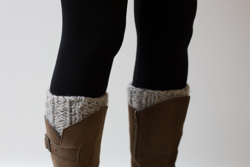 Chunky knit handmade boot cuffs in grey - Shortrounds Knitwear
