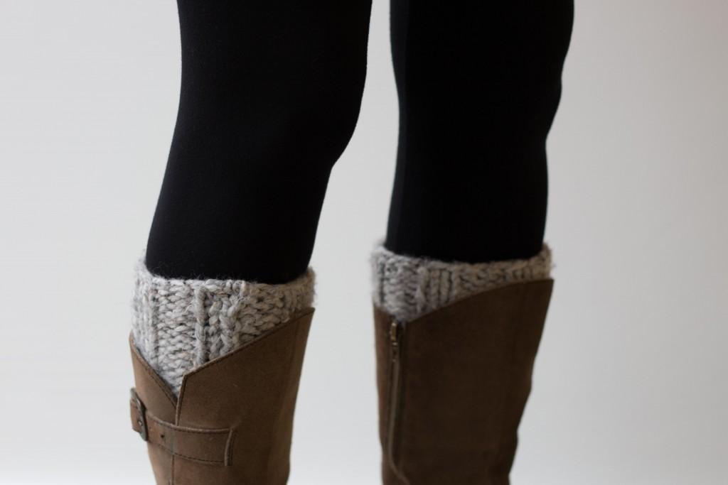 Chunky knit handmade boot cuffs in grey - Shortrounds Knitwear