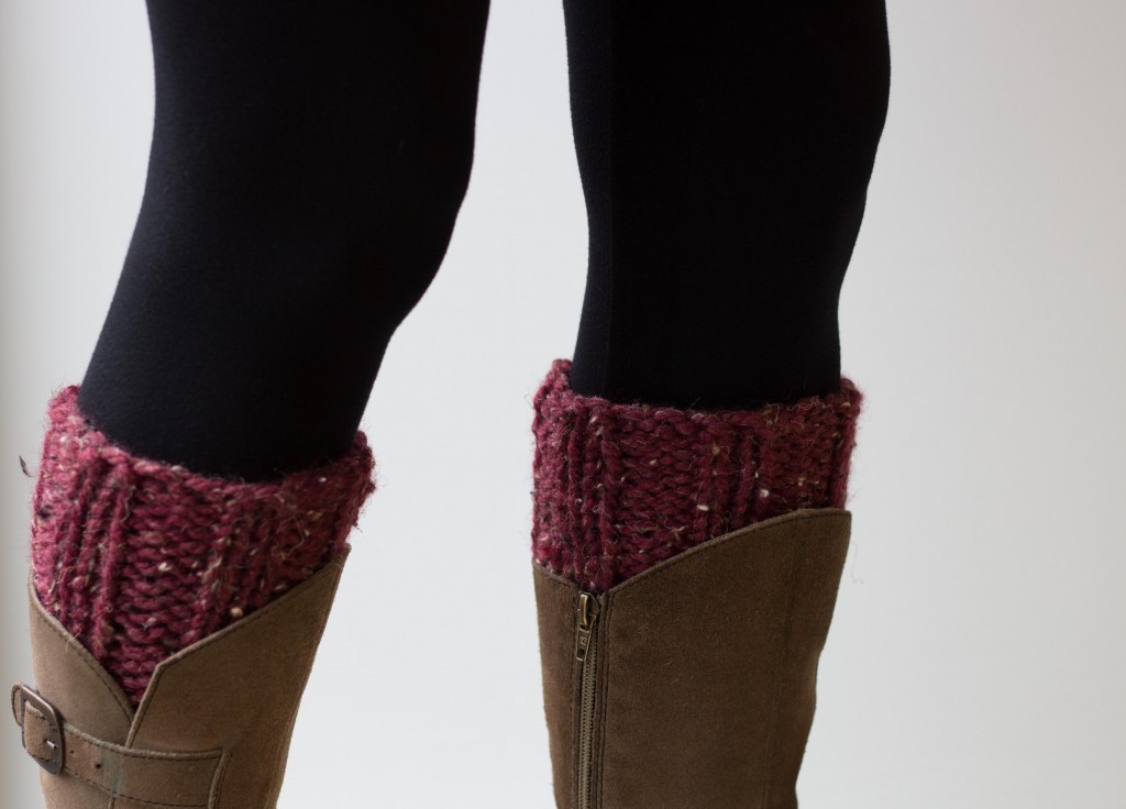 Chunky knit handmade boot cuffs in red - Shortrounds Knitwear