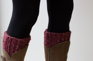 Red chunky knit boot cuffs | Shortrounds Knitwear