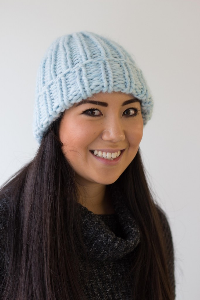 Maxi Beanie knitted hat handmade in Frost - Shortrounds Knitwear