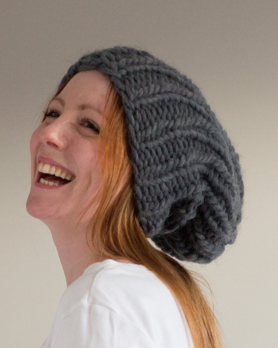 Maxi Slouchie knitted hat handmade in Charcoal grey - Shortrounds Knitwear