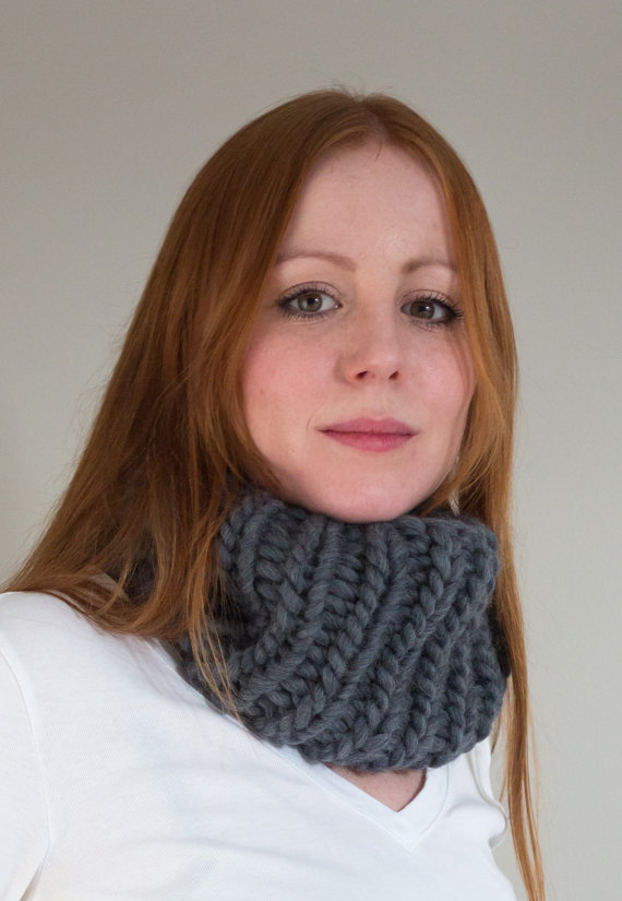 Maxi Cowl hand knitted in Charcoal grey - Shortrounds Knitwear