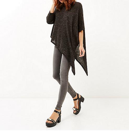 Dark grey asymmetric metallic top River Island - Shortrounds Knitwear