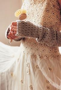Crochet fingerless mittens - Shortrounds Knitwear