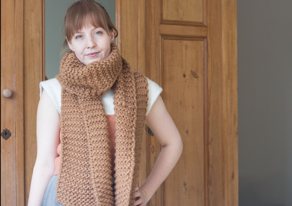 Ridgeway scarf free knitting pattern - Shortrounds Knitwear