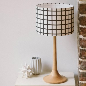 Original Handmade Geometric Grid Black and White Drum Lampshade by Figo Home - Shortrounds Knitwear