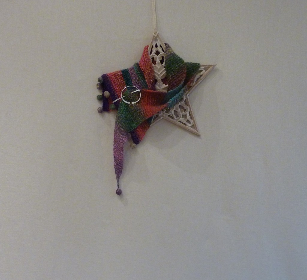 Fishtail noro silk garden asymmetric felt ball scarf | Shortrounds Knitwear
