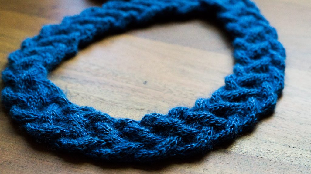 Twice cabled necklace in Rowan Fine Silk | Shortrounds Knitwear